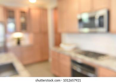 Blurred Modern Kitchen in New Home