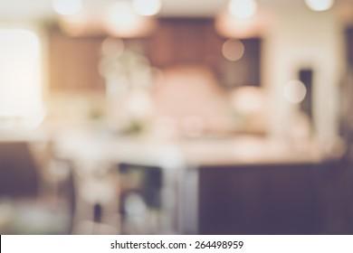 Blurred Modern Kitchen with Retro Instagram Style Filter