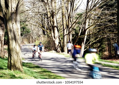 Blurred motion of bicyclist on a spring day on the Burke Gilman bike trail in Seattle, Washington