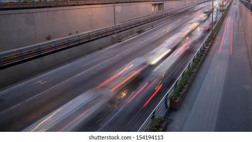 Blurred motion car at dusk