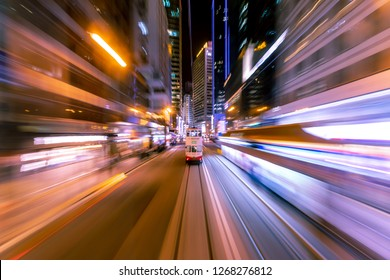 Blurred Motion Travel in Business District of Hong Kong