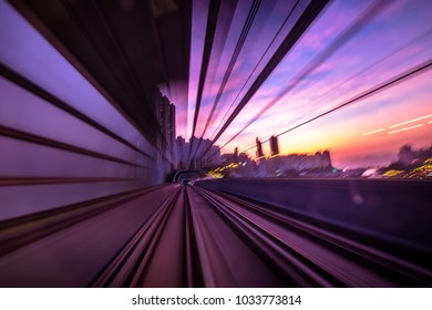 Blurred Motion Travel in MTR train of Hong Kong
