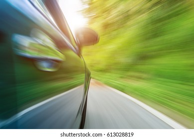 Blurred Motion,car moves at fast speed