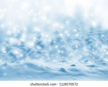 Blurred natural winter background. Snow covered forest.