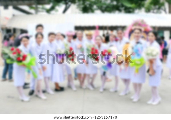 Blurred Nursing Students Graduation Ceremony Congratulations Stock Photo Edit Now 1253157178