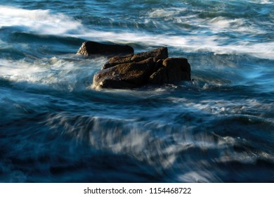 Blurred ocean wave background, abstract