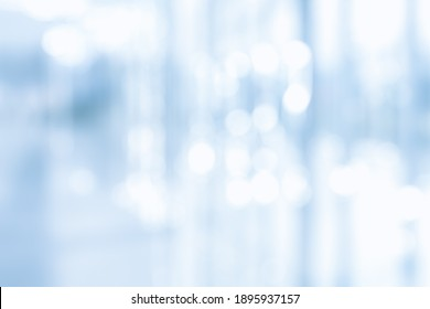 BLURRED OFFICE BACKGROUND, BLUE BUSINESS STORE INTERIOR, MEDICAL HALL WITH WINDOW LIGHT REFLECTIONS