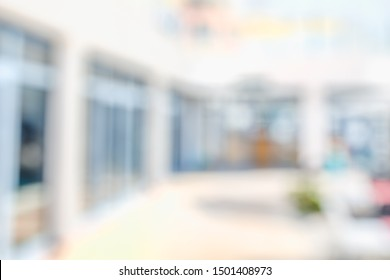 BLURRED OFFICE BACKGROUND, MODERN CITY HALL, OPEN SPACE INTERIOR