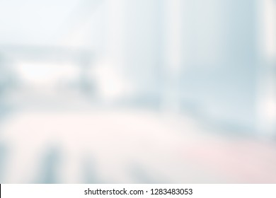 BLURRED OFFICE BACKGROUND, MODERN INTERIOR IN SUN LIGHT