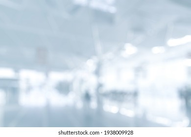 BLURRED OFFICE BACKGROUND, SPACIOUS BUSINESS HALL, MODERN ILLUMINATED COMMERCIAL INTERIOR