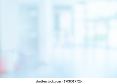 BLURRED OFFICE BACKGROUND, SPACIOUS MEDICAL HALL IN MODERN HOSPITAL CENTER, CLINICAL HALLWAY