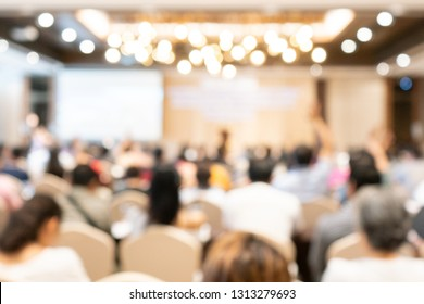 blurred office of conference hall or seminar room with attendee background,