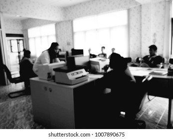 Blurred office rooms in hospitals, abstract office, blur background, black and white tone