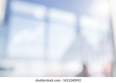 BLURRED OFFICE WITH SUN LIGHT WINDOW REFLECTIONS