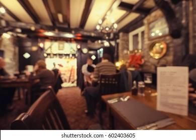 Blurred old-fashioned restaurant