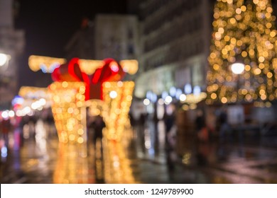 Blurred out festive and celebratory Christmas street decoration