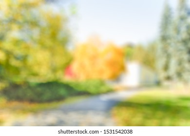 BLURRED PATH WAY IN PARK BACKGROUND, BEAUTY OF NATURE
