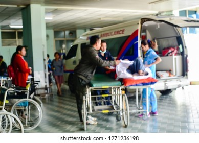 Blurred of patient moving in the hospital.