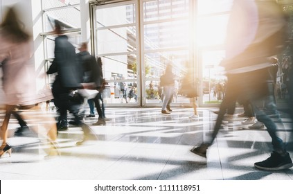 blurred people at a business center