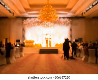 blurred people in ceremony gala dinner party at hotel ballroom
