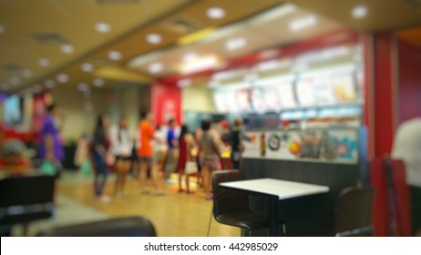 blurred people order fast food restaurant