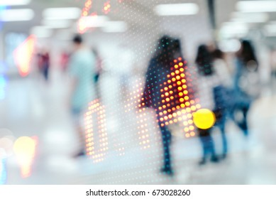 blurred people and Stock market quote, double exposure