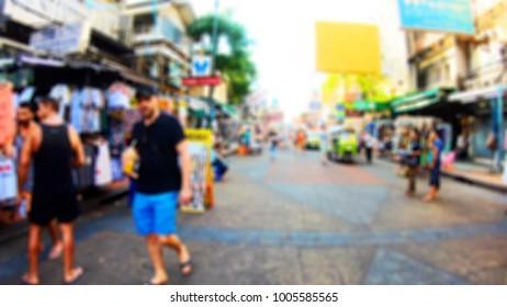 Blurred People Walking On Khao San Road Bangkok Thailand