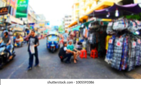 Blurred People Walking On Khao San Road Bangkok Thailand