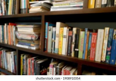 Blurred photo of the arrangement of books on the shelf