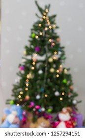 Blurred photo of Christmas tree decorations.