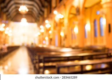 blurred photo of church interior for abstract background
