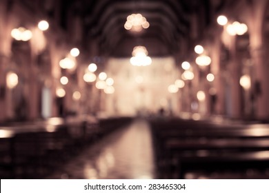 blurred photo of church interior in vintage filter for background