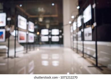 Blurred photo exhibition background.