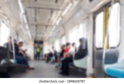 Blurred photo Inside mass rapid train