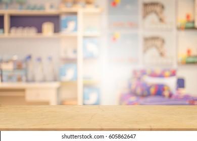 blurred photo of kid room.