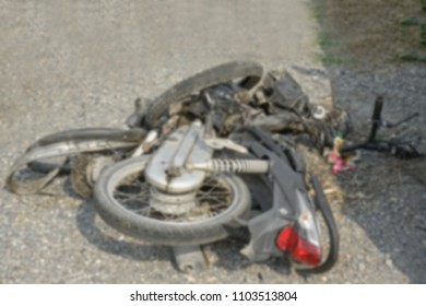 blurred photo motorcycle get damaged by accident