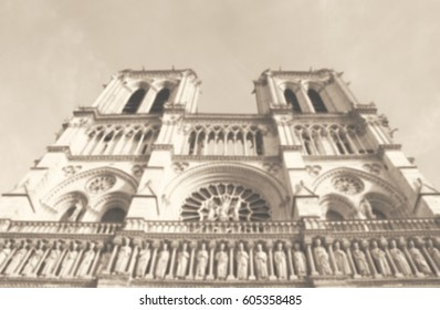 Blurred photo of Notre Dame Cathedral. Paris (France). Black and white.