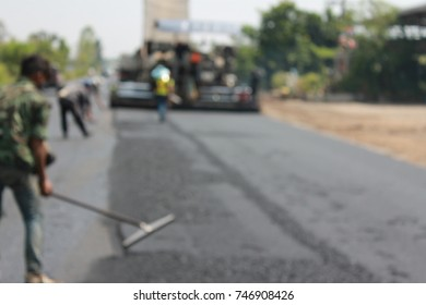 blurred photo road construction in thailand
