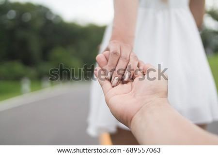 Blurred Photo Valentines Couples Who Hold Stockfoto Nu Bewerken