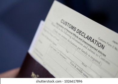 a blurred photos of customs declaration