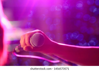 blurred photo,The microphone was prepared for the singer to perform on-stage singing in a nightclub to add fun to tourists with music and music from singers who sang the song.