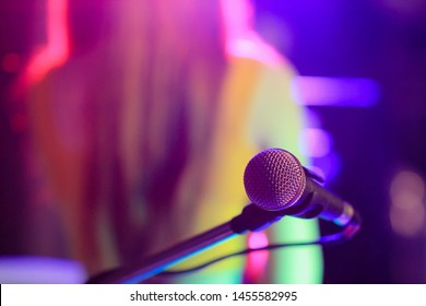 blurred photo,The microphone was prepared for the vocalist to perform on-stage singing in the nightclub to add fun to tourists with music and vocalist songs that sang.