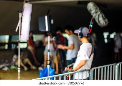Blurred picture, background, movie film set, one record sound