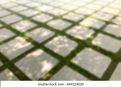 Blurred Picture of Concrete Block Floor in the garden ground, Blurred of Brick with manicured lawn background