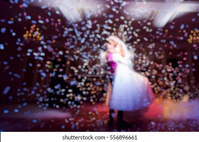 blurred picture. the first dance of bride and groom. wedding concept