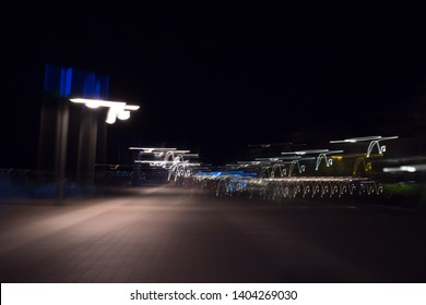 Blurred picture of street lights, in Kalamata, Greece.