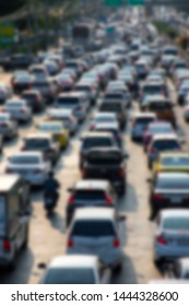 Blurred picture of traffic jam on rush hour in evening time.