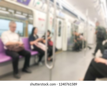 Blurred picture of variety passenger travel by the train