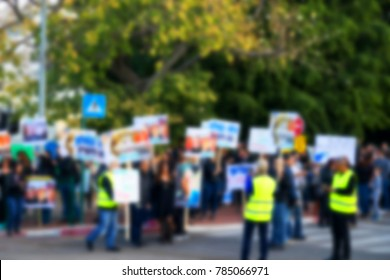 Blurred protesting crowd