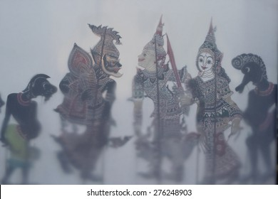 blurred puppet shadow play on fabric,  Traditional Thai Shadow Theatre or 'Nang Yai' in the Thai Language